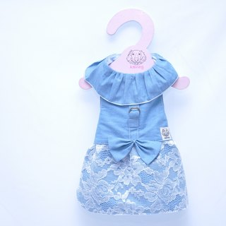 Among_dog harness_lace denim dress(small  size)