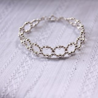 ◆hippie◆  Infinity│Lace Impression Circle Beadwork Bracelet (100% Sterling Silver ) -for bride & wedding