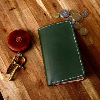 Handmade Japanese dark green tank Tochigi saddle leather tanned with primary medium two-fold wallet wallet fiscal cloth
