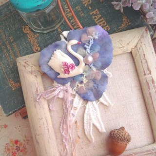 Garohands elegant swan cotton lace ribbon pearl brooch dual necklace gift N016 * Lavender Forest Department