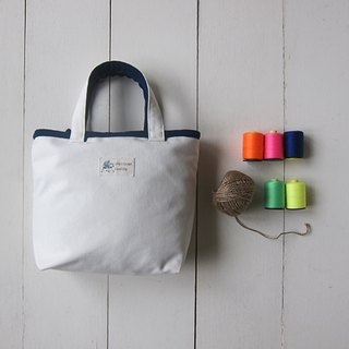 Macaron Series - Small Canvas Tote (milk white + navy blue)