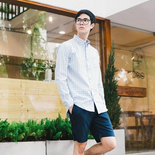 (SIZE S, M) CRANE // light blue check // men slim fit