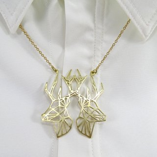 Geometric two deer necklace