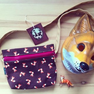 Handmade shoulder Striped Fox Orange Orange Fox Sling Bag.