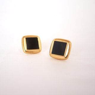 Circle dot black square stainless steel ear clip ear clip ear clip earrings 240