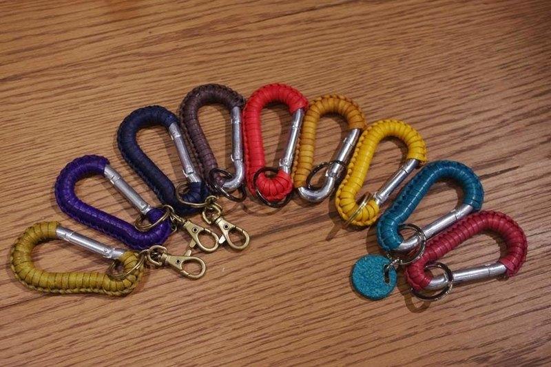 皮革編織登山鉤鑰匙圈,免費刻字