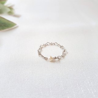 Pearl twisted chain ring