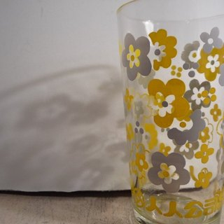 Vintage Glass with Grey / White Floral Pattern pop style early 300 CC old juice glass