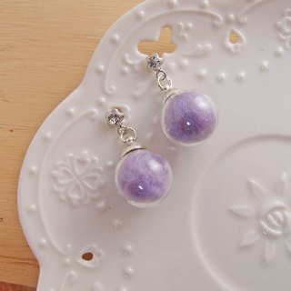 Dream crystal ball. Pink Purple x Candy Ball x Glass Ball x Silver Needle Steel Earrings Spiral Ear Clips