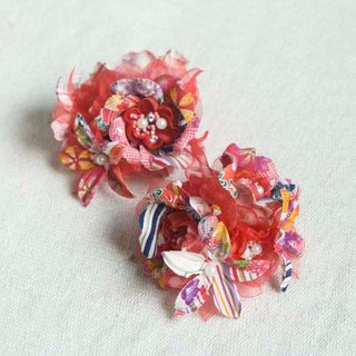[MITHX] cherry blessing, flower feast, a small side clip brooch, styling hair accessories - red