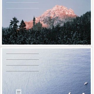Neuschwanstein + Santorini (Travel photography postcard)
