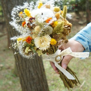 Amor Floral - Snow White Summer Dry Bouquet Bouquet / Wedding Small Bridal Bouquet