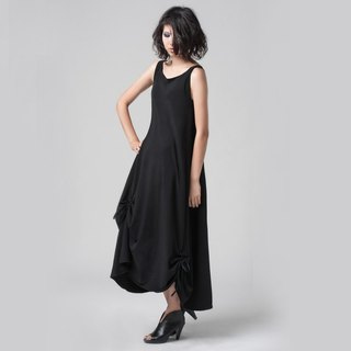 [DRESS] vest hem crepe long dress (with the rope can be freely changed shape)