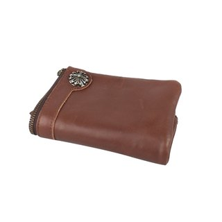 AMINAH-Brown leather wallet imported from Japan [am-0267]