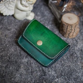 Color leather handmade leather purse + before playing a card layer (green)