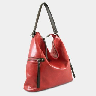 Influxx GND Melanie Leather Shoulder Bag / Work Bag / Tote  – Poppy Red