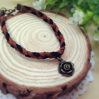[Cream] memories plush retro roses bronze leather cord bracelet bracelet couple birthday gift handmade exclusive