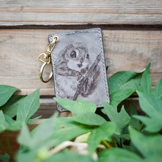 Gray hand-stitched leather flying squirrel keychain card sets