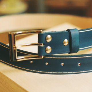 Make Your Choicesss hand-dyed Italian leather vegetable tanned leather belt - Blue Gem