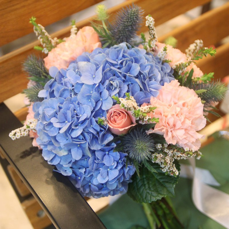 Blooming flowers - water blue hydrangea bridal bouquets custom wedding bouquets European flowers bouquets