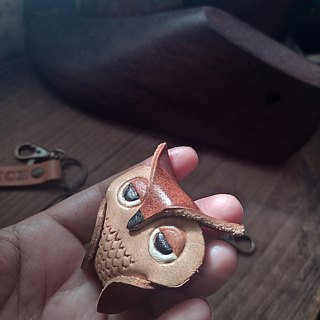 The first three owls Mr. three-dimensional solid pure leather key paragraph - can be customized name