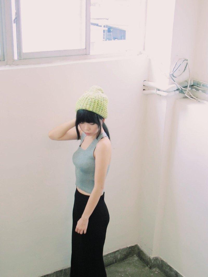 Lan 毛線帽子(螢光黃底)