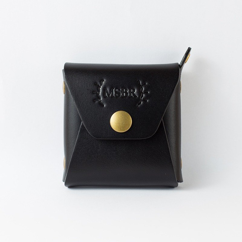 Leather mini purse, Coin Case, Small leather pouch (Black)