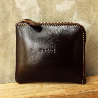 Wallet - Side / Leather Wallet / Leather Bag / Small Wallet - Dark Brown