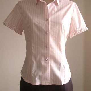 Small flouncing striped short-sleeved shirt - pink stripes