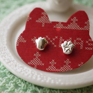 Handmade 925 Sterling Silver - Cat Meatball Ball Earrings - Hold the cat's hand, with the old cat (can change ear clip type)