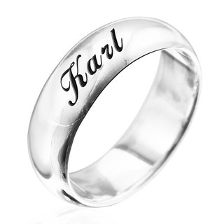 Custom Ring Engraving Silver Ring 7mm Curved Lettering English Text Name Silver Ring