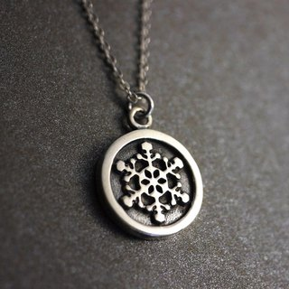Handmade Snowflake Necklace - Custom Hand Stamped - Oxidized Sterling Silver
