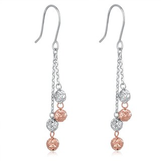 Hong Kong Design 14K / 585 Red White Gold lob net gold earrings