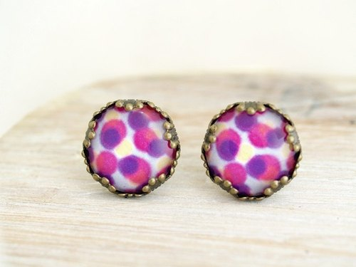 ♥ ♥ OldNew Lady- made a small gift bronze lace earrings - colorful pastel purple color point [point]