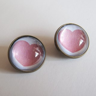 Round ear clip ear acupuncture - you always follow my heart is not in the classroom (white pink heart)