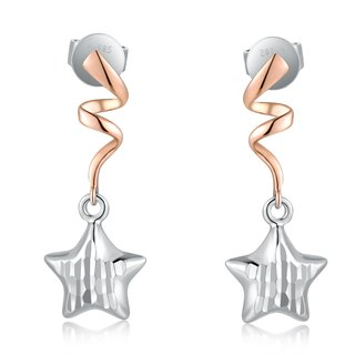 Hong Kong Design 14K / 585 Red White Gold net gold star hanging earrings