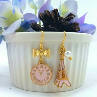 Paris Good times - Barbie pink asymmetric hypoallergenic earrings / ear hook