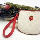 100%PURE Fruits刺繡半圓馬蹄型零錢包/草莓