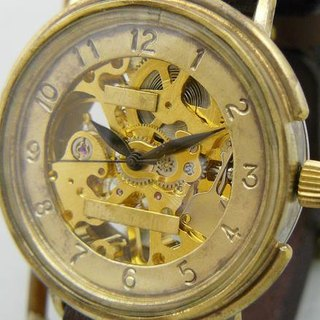 "Handmade watch HandCraftWatch hand-rolled Brass JUMBO ""Big Wheel2-BHW"" GD / BR"
