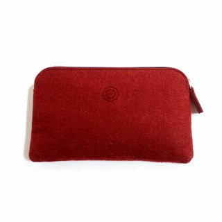 Simple Multifunction Wool Felt Hand Bag/ Textured Wine Red Pencil Bag. Storage Bag. Cosmetic Bag. Passport Bag