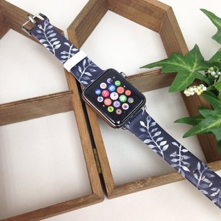 Apple Watch Series 1 , Series 2 & Series 3 - Leaves Pattern Deep Blue Printed on Genuine Leather for Apple Watch Strap Band 38 / 42 mm - 37