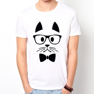 Hipster Cat T-shirt -2 color cat mustache beard retro art design funky glasses green paper animals