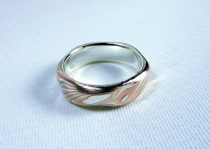 Element 47 Jewelry studio~ mokume gane ring 24 (silver/copper/shibuichi)