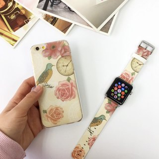 [Gift Packaging] Apple Watch Series 1 and Series 2 - Vintage Floral Bird Patten Soft / Hard Case + Apple Watch Strap Band
