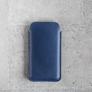 Navy blue  iPhone  handmade natural genuine leather sleeve pouch case