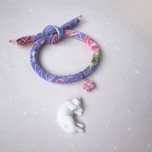 Japanese kimono dog collar & cat collar【Single knot】Wisteria_S size
