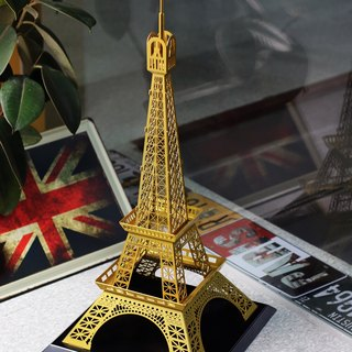 Dong Qi metalworking] [OPUS Eiffel Tower in Paris, France Metal Building model / customized design / photography window props / wedding venue / creative home decorations (Classic Gold)