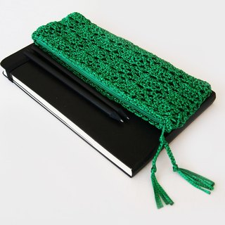 Emerald Green Crochet Pencil Case – Handmade Zippered Pencil Pouch Perfect as Christmas Stocking Stuffer, Back To School or Teacher Gift