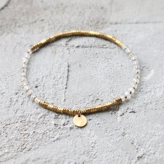 < ☞ HAND IN HAND ☜ > Moonstone - break Brass bracelet (0375)