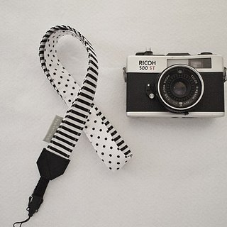hairmo. Black and white stitching single back strap + QR skin graft group (aperture camera / cell phone)